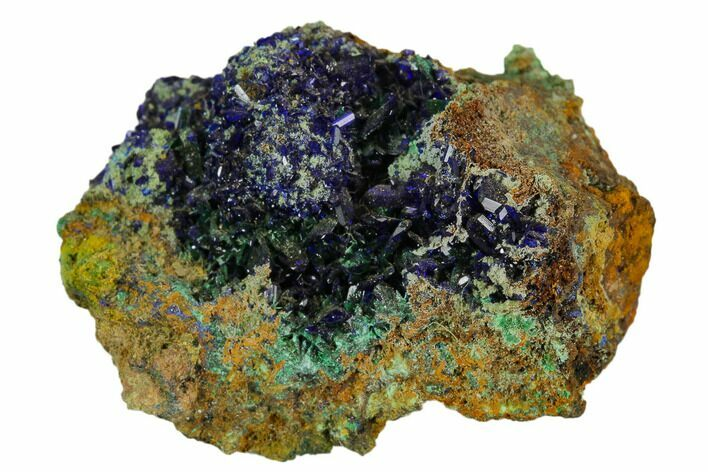 "1.2"" Sparkling Azurite Crystals With Malachite - Mexico"