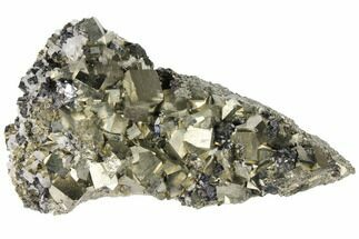 "Buy 8.8"" Cubic Pyrite, Sphalerite & Quartz Crystal Association - Peru - #133015"