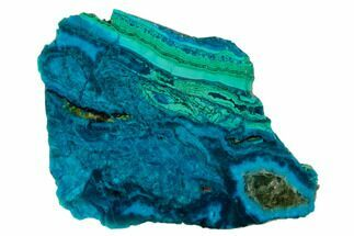 "3.1"" Polished Chrysocolla & Plume Malachite - Bagdad Mine, Arizona For Sale, #133604"