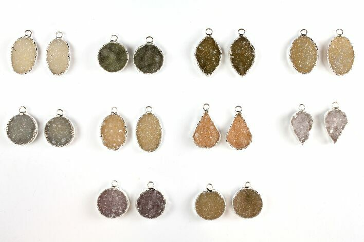 Lot: Druzy Quartz Pendants/Earrings - 10 Pairs