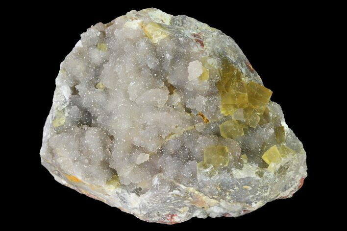 "3.1"" Yellow Cubic Fluorite Crystal Cluster with Quartz - Morocco"