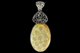 20 Million Year Old Fossil Coral Pendant - Sterling Silver For Sale, #142286