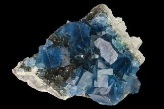 "3.1"" Blue Cubic Fluorite on Smoky Quartz - China For Sale, #142613"