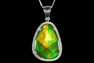 Ammolite Pendant with Sterling Silver and White Sapphires For Sale, #143573