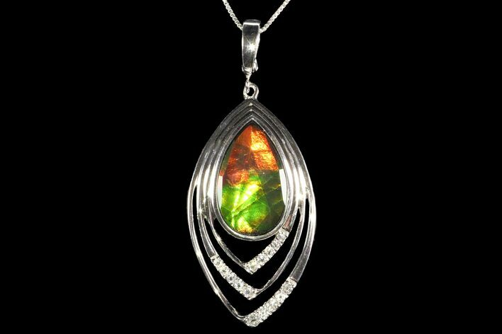 Ammolite Pendant with Sterling Silver and White Sapphires