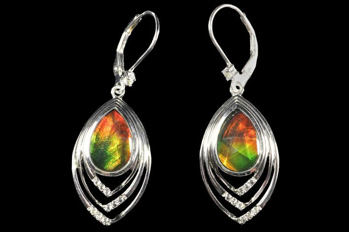 Ammolite Earrings with Sterling Silver and White Sapphires