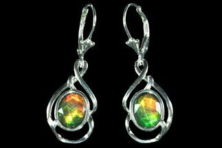 Buy Gorgeous Ammolite Earrings with Sterling Silver  - #143581
