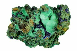 "3.6"" Sparkling Azurite Crystals With Malachite - Laos For Sale, #146654"