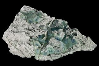 "Buy 6.1"" Blue-Green Fluorite on Sparkling Quartz - China - #147031"