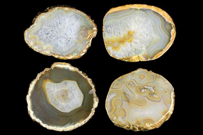 Four Polished Brazilian Agate Coasters - Gold Electroplated Edges