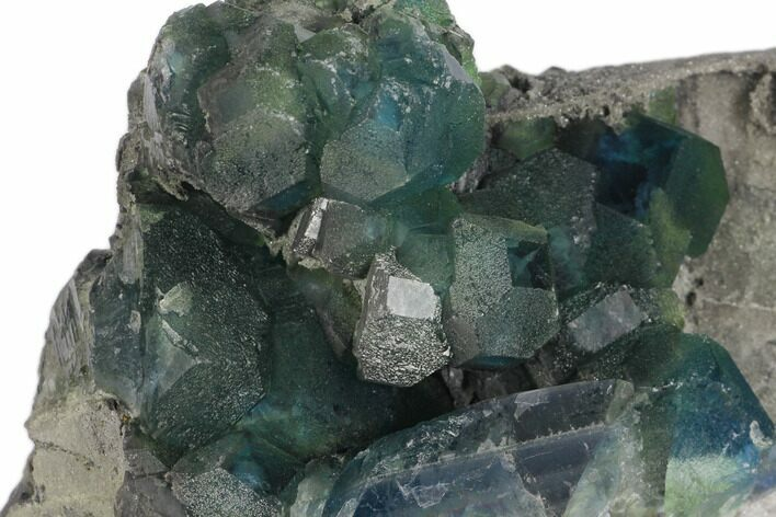 "5"" Blue-Green Cuboctohedral Fluorite on Sparkling Quartz - China"