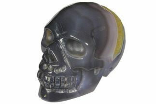 "3.6"" Polished Blue Agate Skull with Quartz Crystal Pocket  For Sale, #148088"