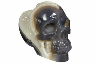 "Buy 6.5"" Polished Banded Agate Skull with Quartz Crystal Pocket  - #148117"