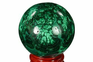 "1.8"" Flowery, Polished Malachite Sphere - Congo For Sale, #150215"