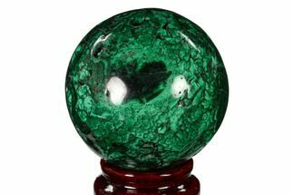 "Buy 2.45"" Flowery, Polished Malachite Sphere - Congo - #150238"