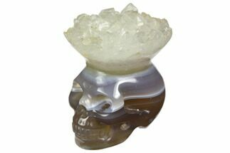 "1.7"" Polished Agate Skull with Quartz Crown  For Sale, #149537"
