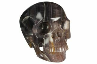 "5"" Realistic, Carved, Banded Purple Fluorite Skull For Sale, #150860"