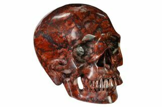 "Buy 5"" Realistic, Polished Red Picture Jasper Skull  - #150883"