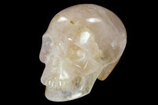 "3"" Realistic, Polished Brazilian Rose Quartz Crystal Skull For Sale, #151073"