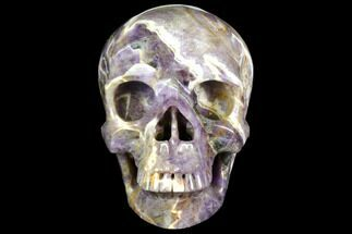 "Buy 5"" Realistic, Carved Chevron Amethyst Skull  - #151189"