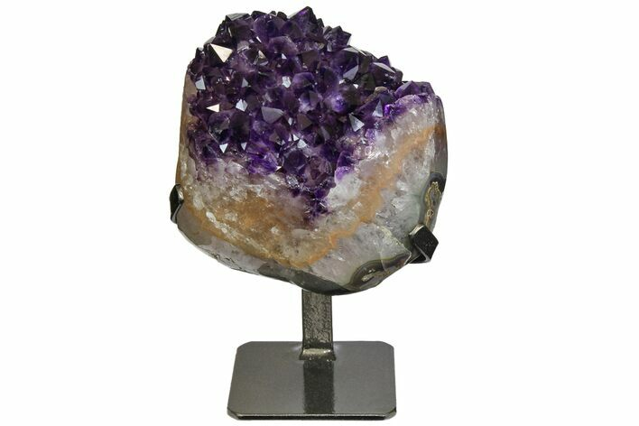 "6.3"" Amethyst Geode Section With Metal Stand - Uruguay"