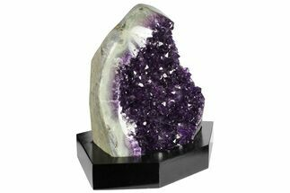 "Buy 6.8"" Tall, Dark Purple Amethyst Cluster With Wood Base  - Uruguay - #152365"