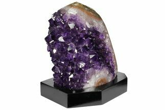 "5.9"" Tall, Dark Purple Amethyst Cluster With Wood Base  - Uruguay For Sale, #152366"