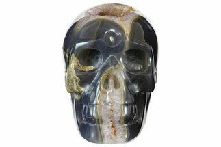 "6"" Polished Blue Agate Skull with Amethyst Crystal Pocket  For Sale, #155741"