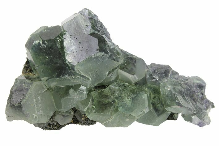 "2.1"" Green Cuboctahedral Fluorite on Sparkling Quartz - China"