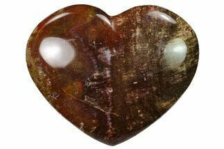 "3.8"" Polished Triassic Petrified Wood Heart - Madagascar For Sale, #139985"