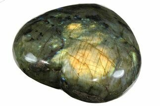 "3.6"" Flashy Polished Labradorite Heart - Madagascar For Sale, #167279"