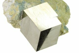 ".74"" Natural Pyrite Cube In Rock - Navajun, Spain For Sale, #168488"