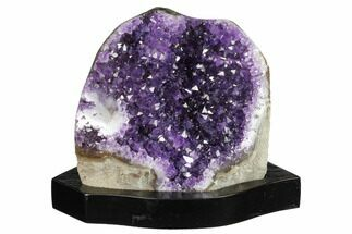 "6.1"" Tall Dark Purple Amethyst Cluster With Wood Base  - Uruguay For Sale, #171977"