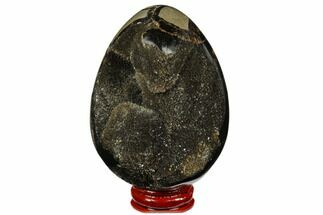 "3.4"" Septarian ""Dragon Egg"" Geode - Black Crystals For Sale, #177392"